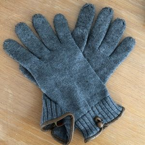 Grey Wool Gloves w/ Brown Leather Trim Accent